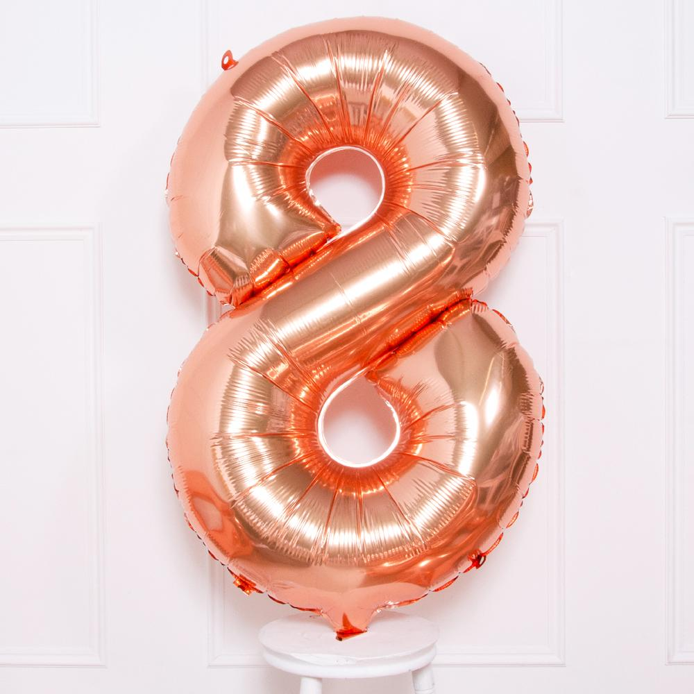 "Supershape Rose Gold 34"" Helium Balloon Number 8"