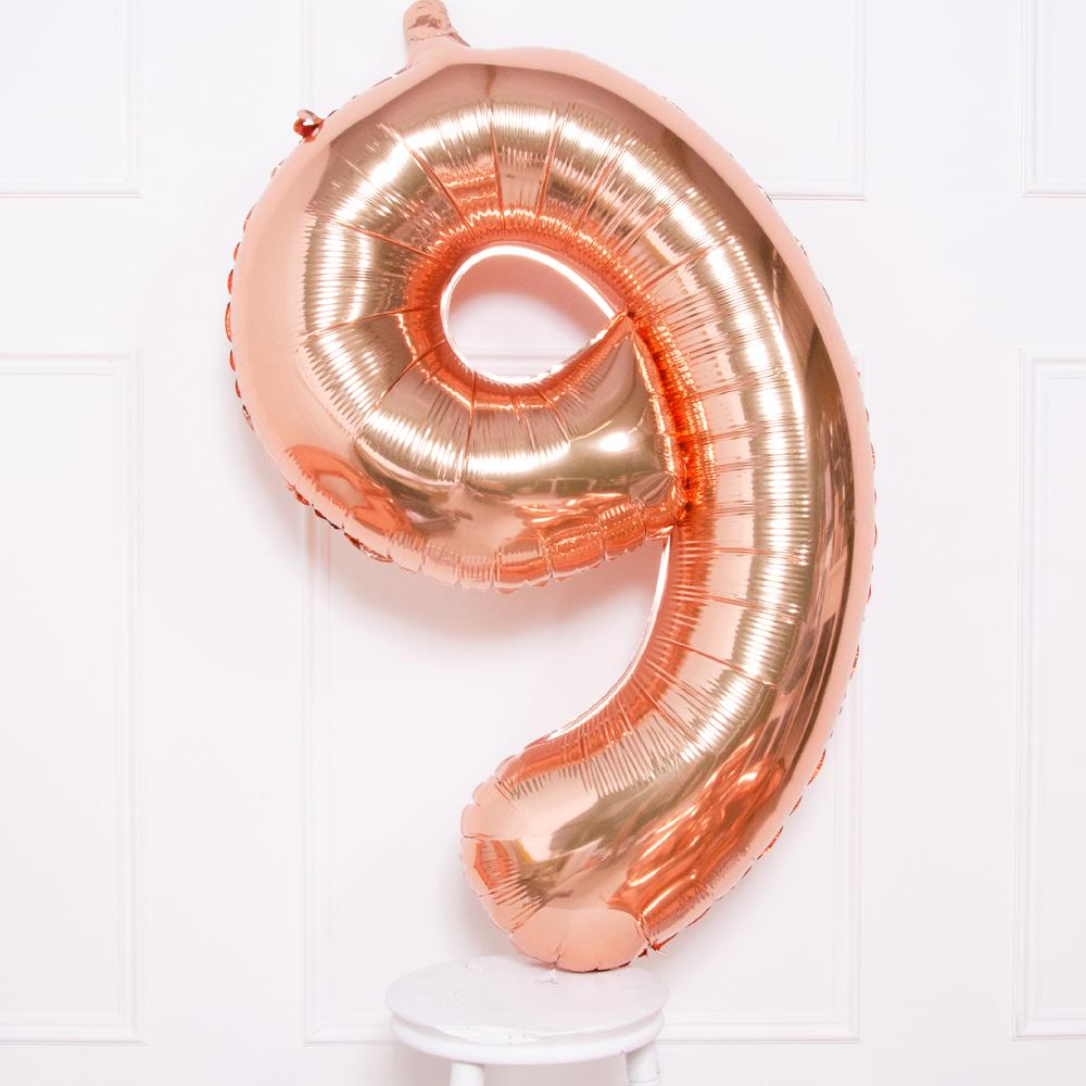 Supershape Rose Gold Helium Balloon Number 9