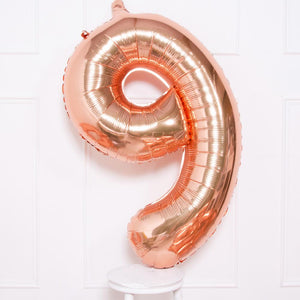 "Supershape Rose Gold 34"" Helium Balloon Number 9"
