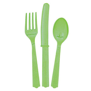 Reusable Green Plastic Cutlery (x18)