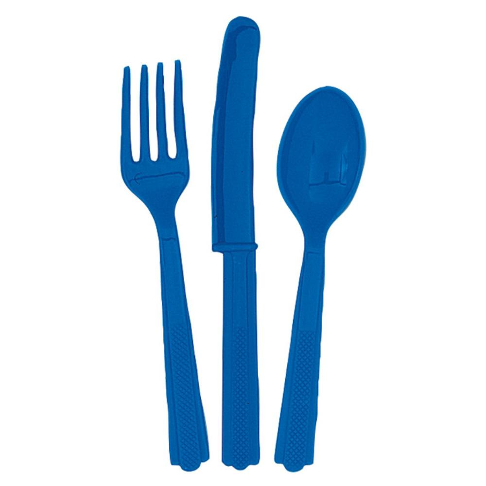 A set of royal blue plastic cutlery