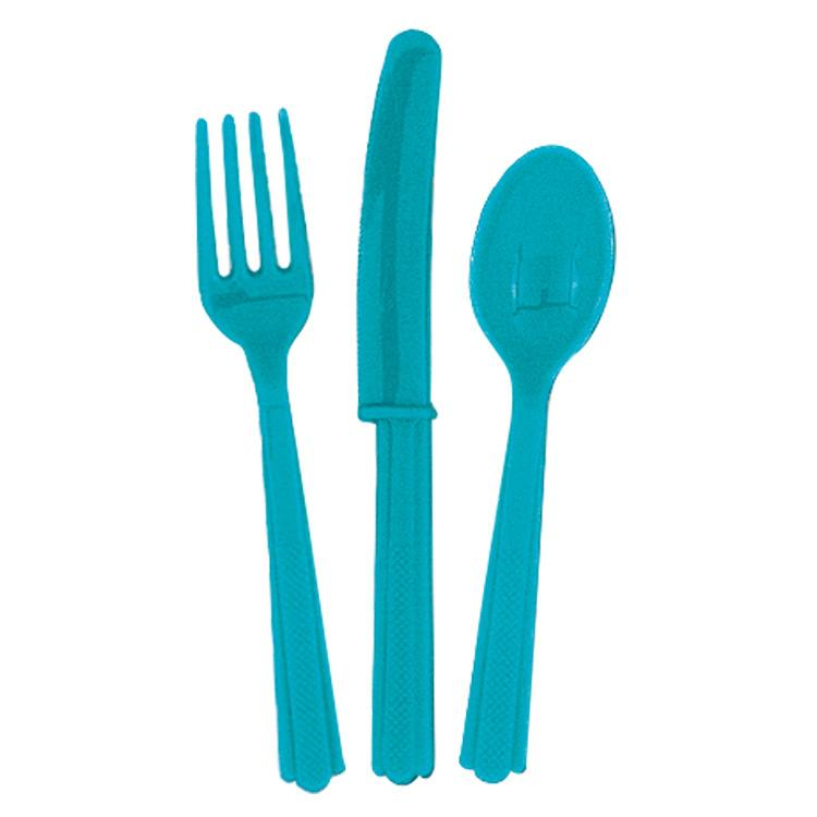 Turquoise Reusable Plastic Cutlery (x18)