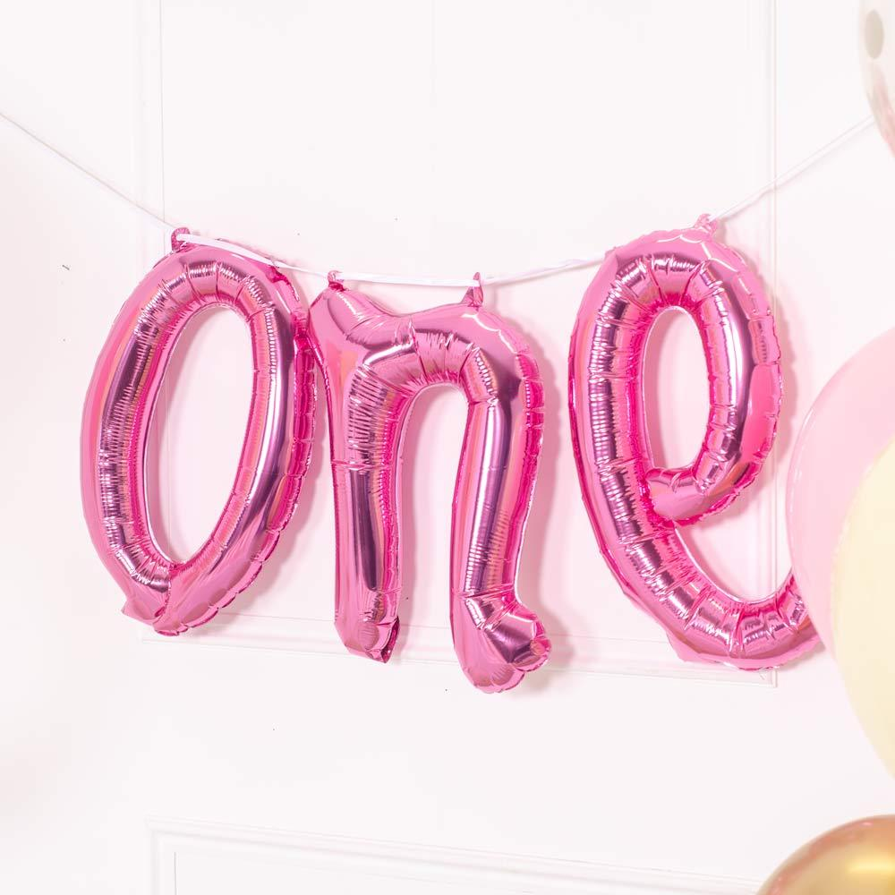ONE Air Filled Foil Phrase Balloon Bunting Pink (each)