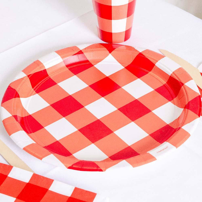 Red Gingham Paper Plates (x8)