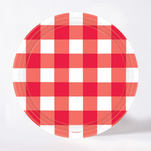 A round, gingham-style paper party plate