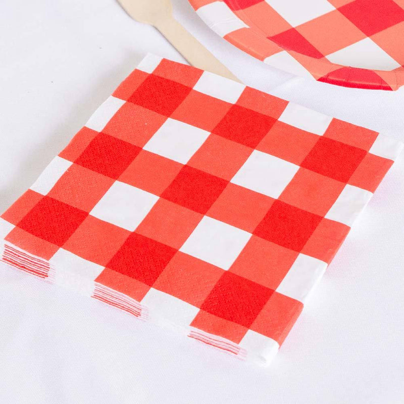Red Gingham Paper Napkins (x16)