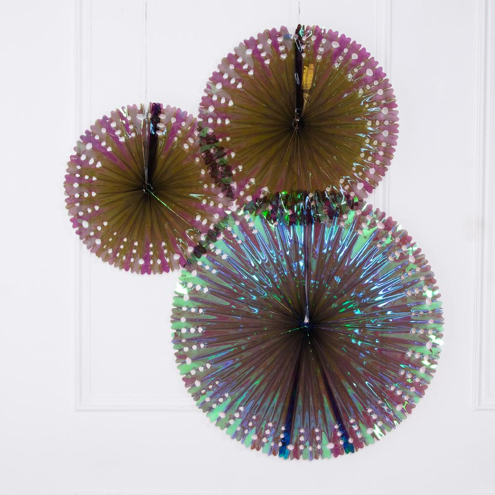 3 see-through fan decorations with an iridescent sheen