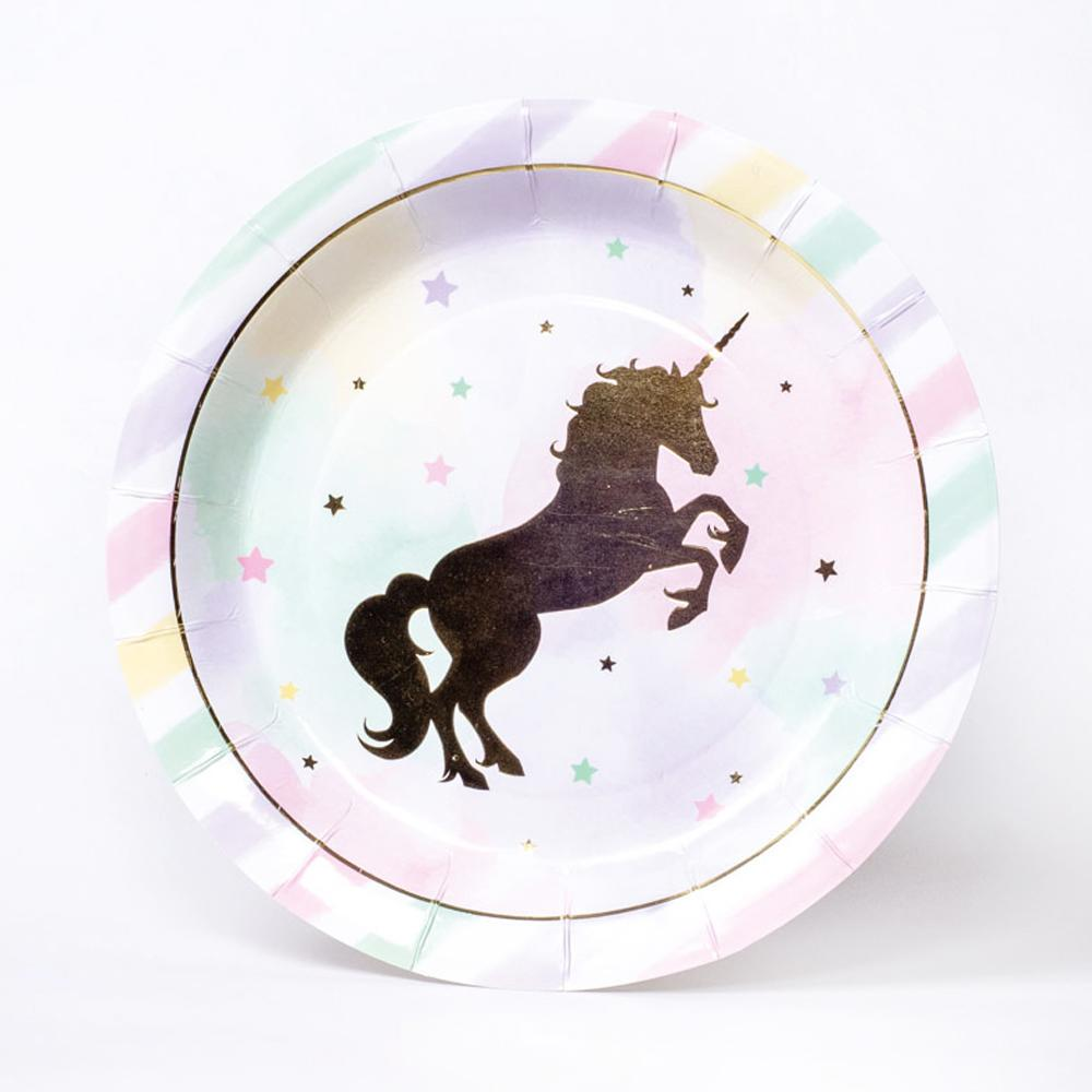 A round party plate with pastel stripes and a large Unicorn foil silhouette in the centre