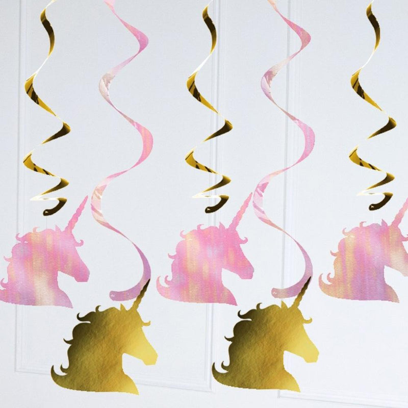 Unicorn Sparkle Swirl Ceiling Decorations (x5)