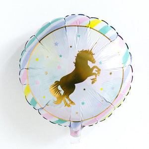 A round, shiny-foiled Unicorn balloon with pastel rainbow colours