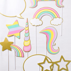 A set of Unicorn-themed party photobooth props