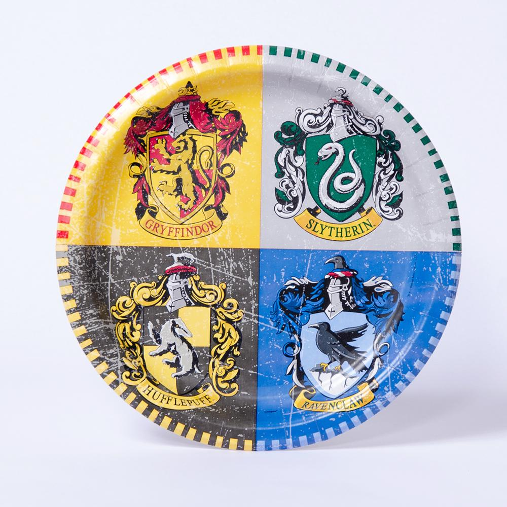 A Harry Potter-themed part plate with the 4 houses of Hogwarts as a design