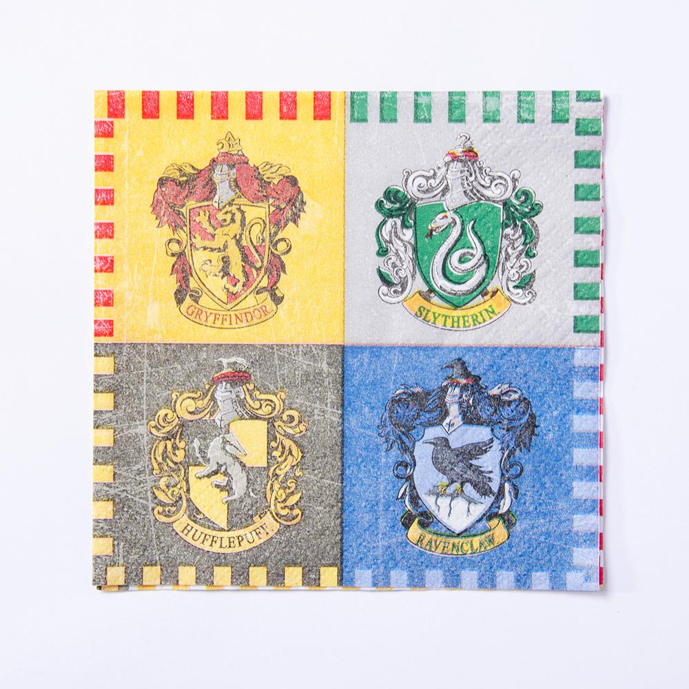 A small party napkin with a 4 houses of Hogwarts design