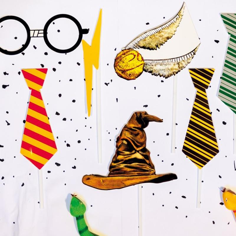 A set of Harry Potter party photobooth props