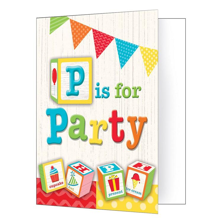 ABC Birthday Party Invitations (x8)