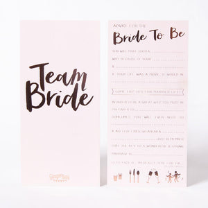 Front and back of Team Bride Hen do advice cards