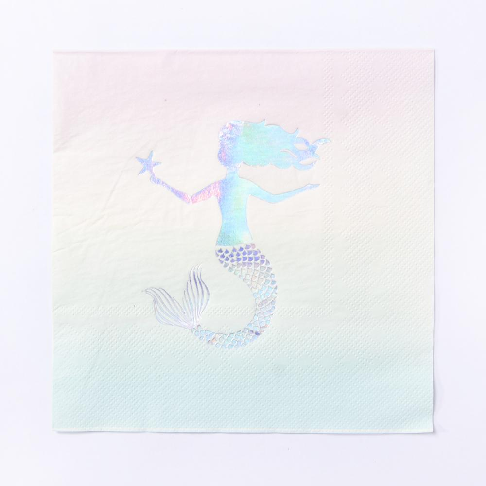 A mermaid party-themed napkin featuring a pastel-coloured design