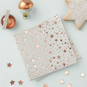 Rose Gold Star Beverage Party Napkins (x20)