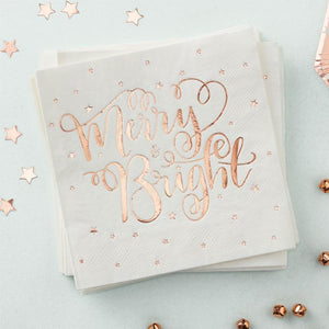 Rose Gold Merry and Bright Party Napkins (x20)