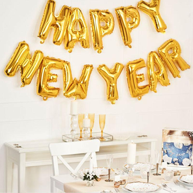 Happy New Year Balloon Garland Gold