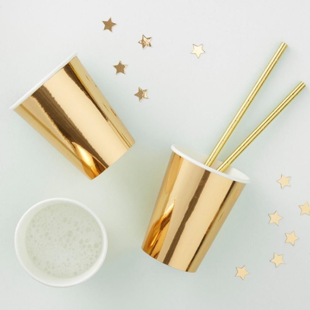 Metallic Gold Paper Party Cups (x8)