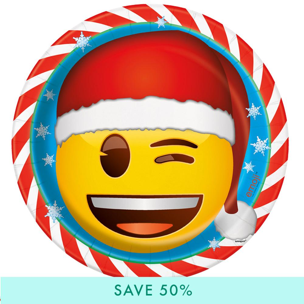 Emoji Christmas Paper Party Plates (x8)