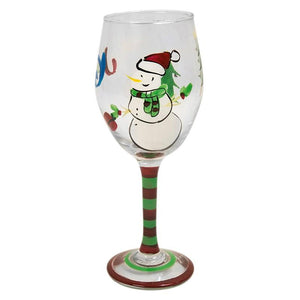 Christmas Hand Painted Wine Glass