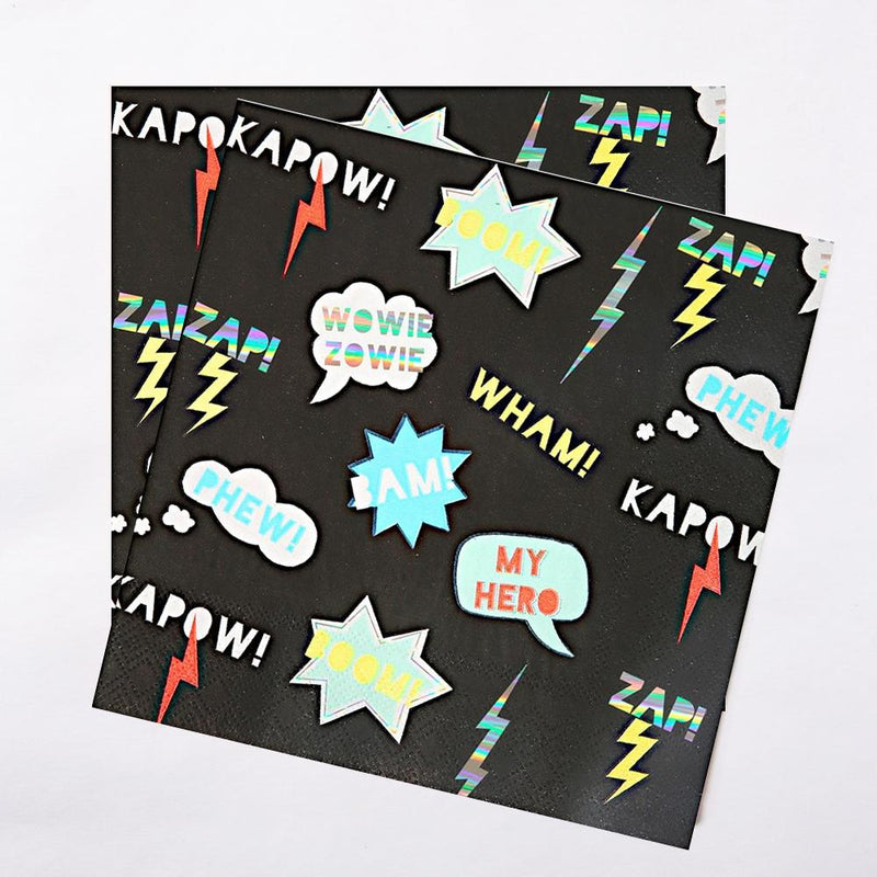 A pair of black party napkins with comic book-styled effects