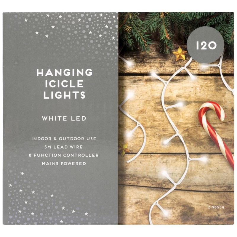 120 Christmas Icicle White Lights