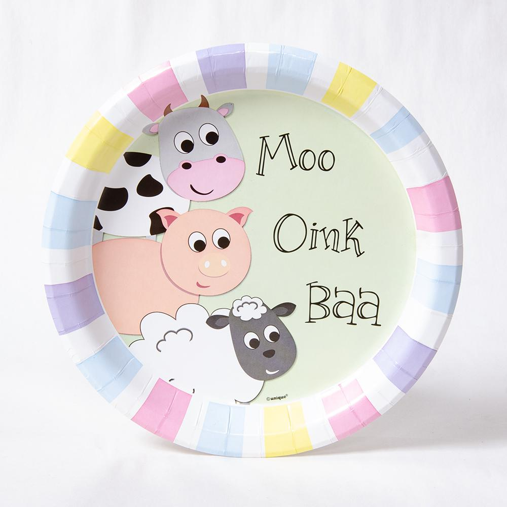 A round party plate with farm yard animals and a pastel stripe design