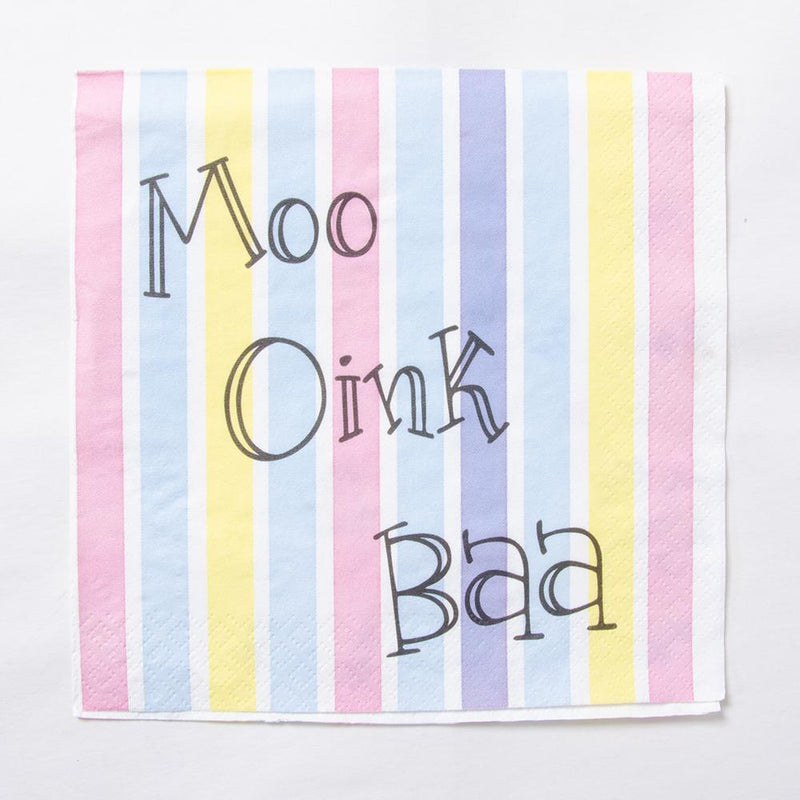 A stripy pastel coloured party napkin with farm yard noises on