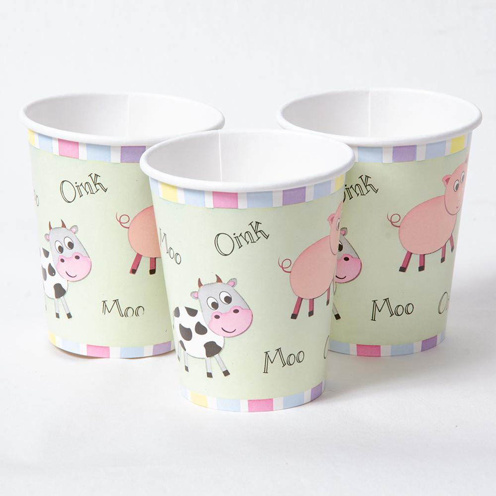 3 farm yard-themed party cups with a cute cartoon animal design.