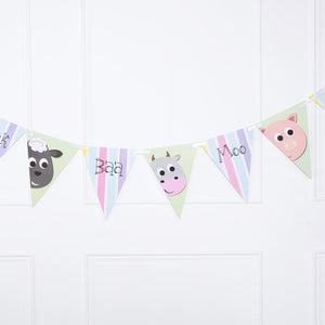 A party bunting with pennants featuring cartoon animals and farm yard noises