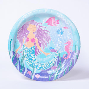 A round party plate featuring a mermaid in an underwater scene