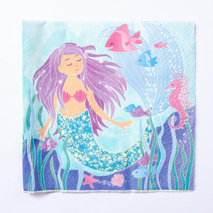A party napkin featuring a mermaid in an underwater scene