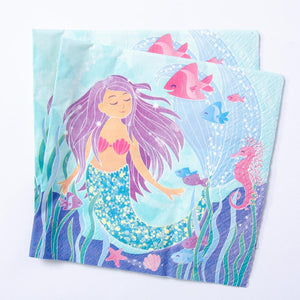 Glitter Mermaid Napkins (x16)