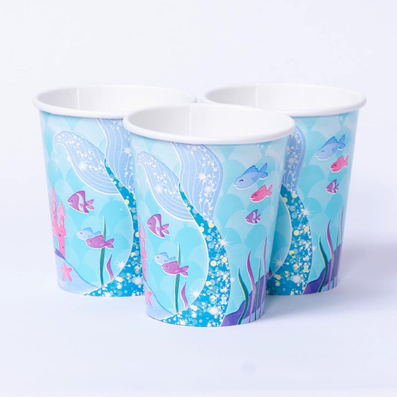 Glitter Mermaid Paper Party Cups (x8)