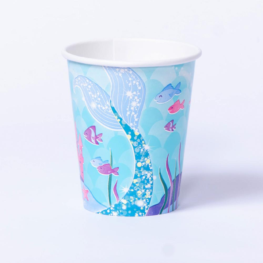 A mermaid-themed party cup with a glittery mermaid tail and underwater design