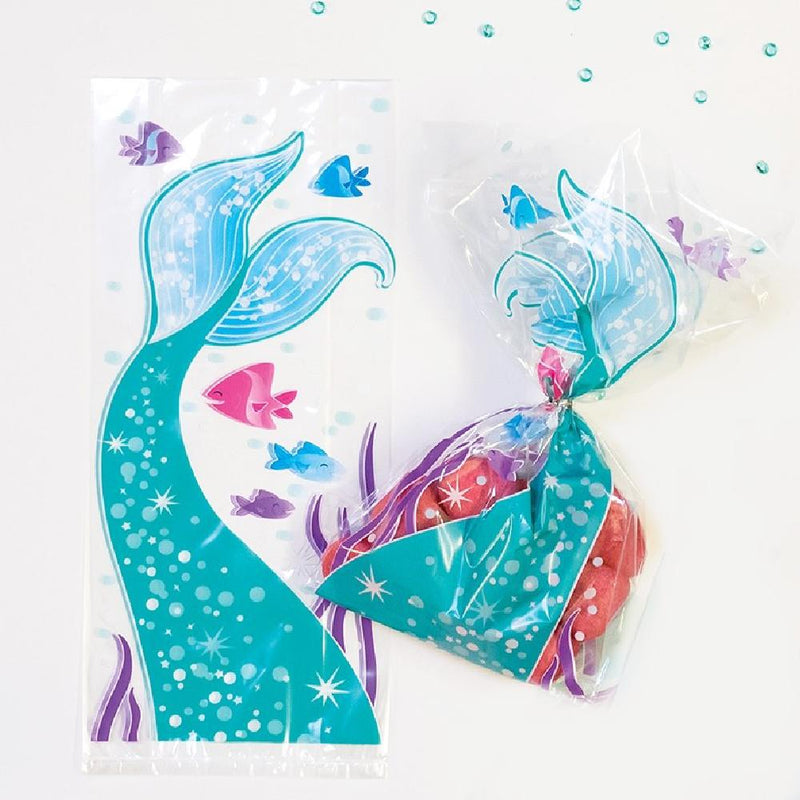 A pair of mermaid party bags with glittery mermaid tail designs