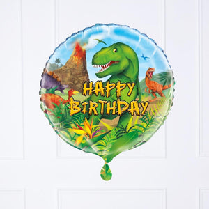 A dinosaur-themed foil birthday balloon featuring a Happy Birthday greeting and a T-Rex