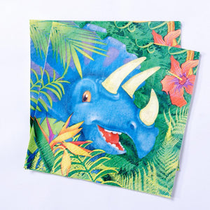 A set of party napkins with a triceratops character on the front