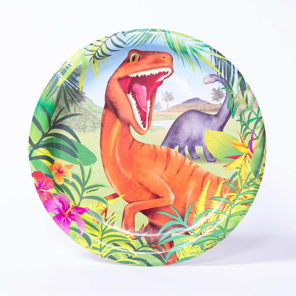 A round party plate featuring a roaring T-Rex