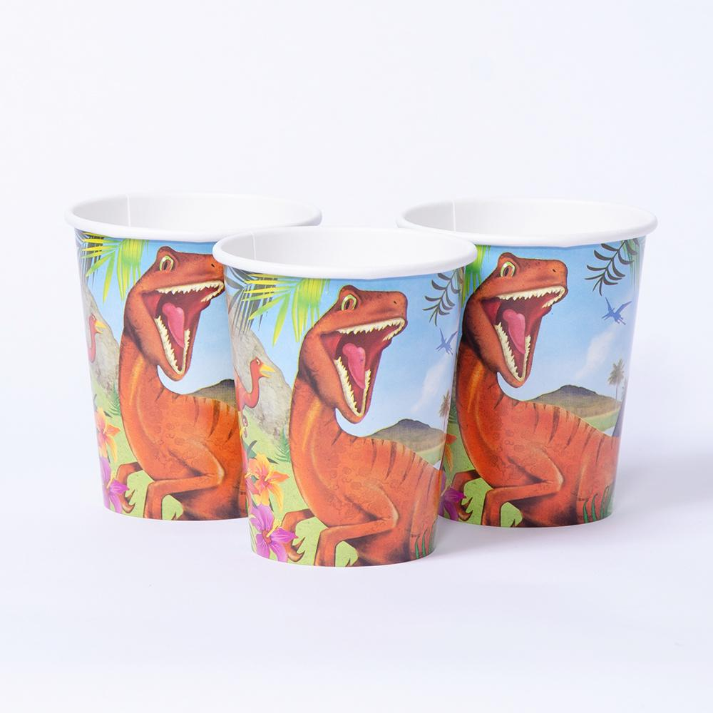 3 dinosaur-themed party cups featuring a velociraptor