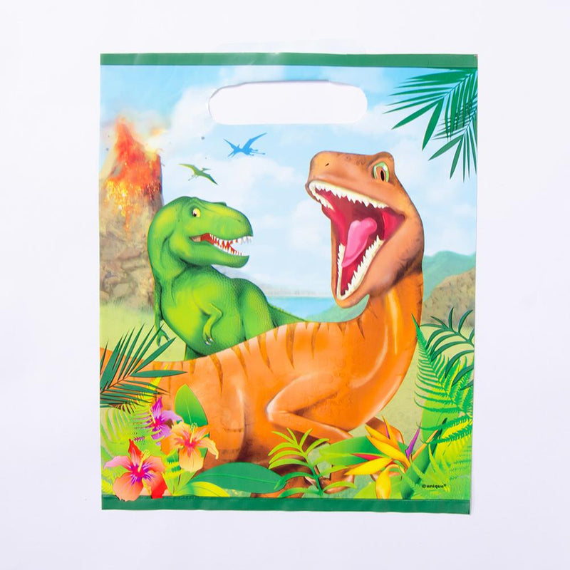 A dinosaur-themed party bag featuring a raptor and T-Rex