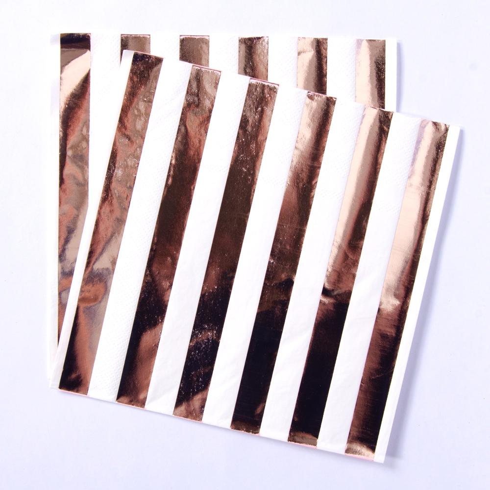 2 party napkins with white and shiny rose gold stripes