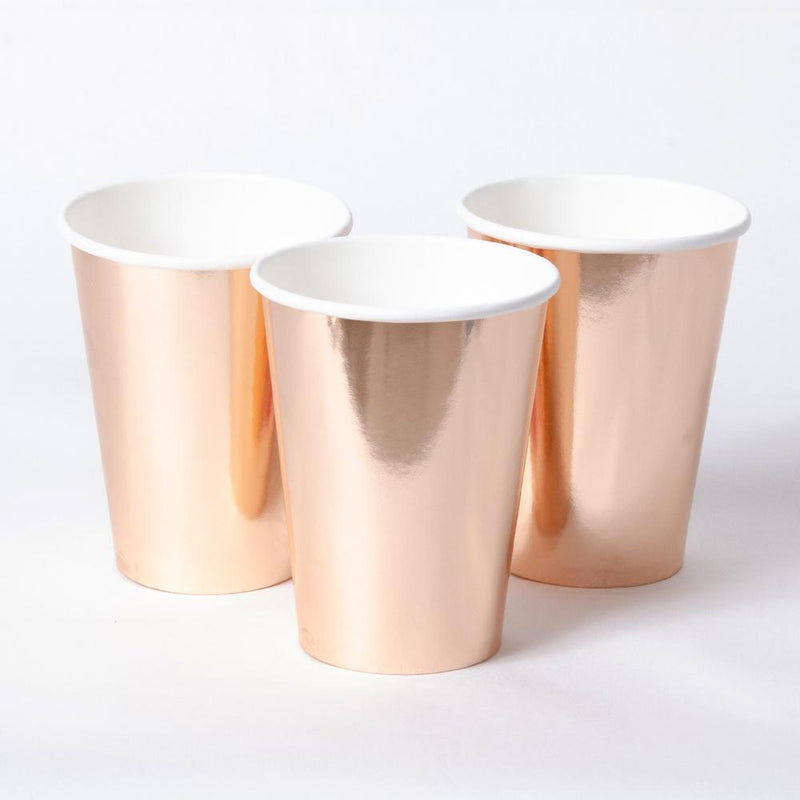 3 rose gold foiled paper party cups