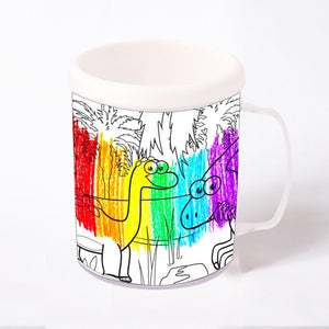 A dinosaur colouring mug with cute dinosaur illustrations