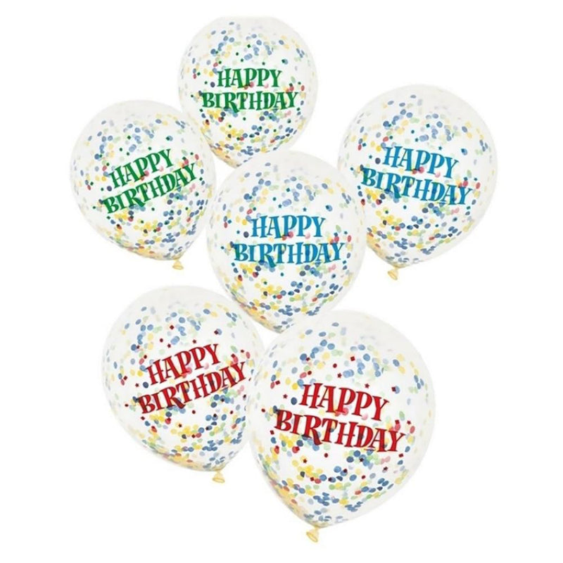 A bunch of clear confetti-filled balloons with Happy Birthday printed greetings