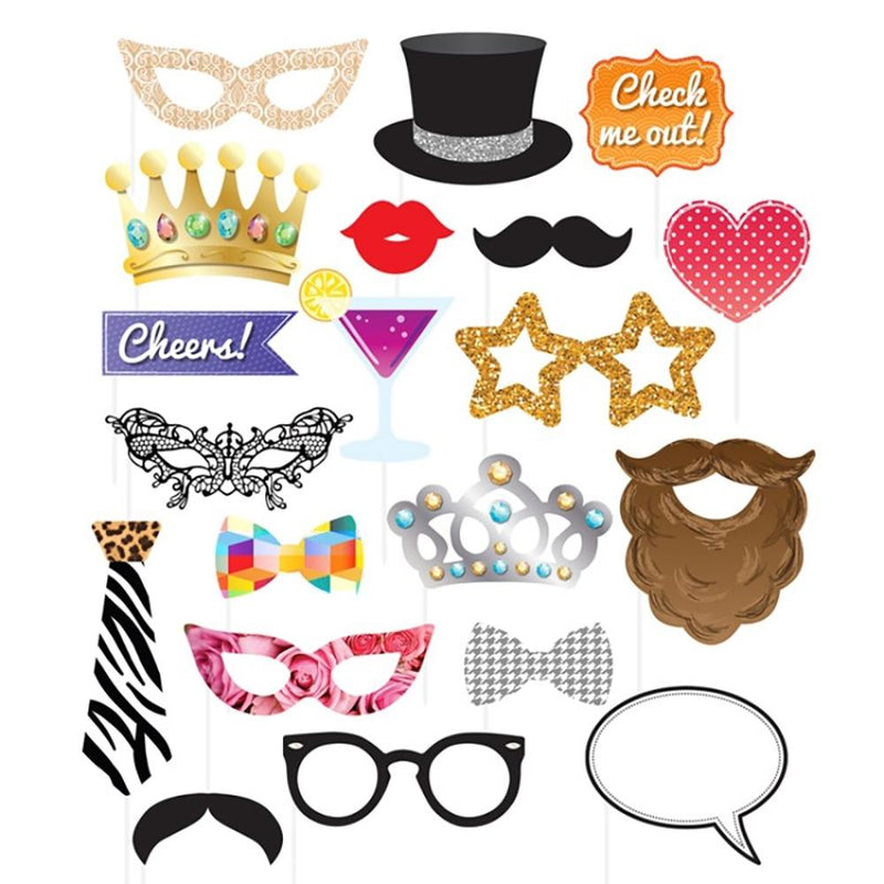 A large mix of paper party photobooth props including beards, top hats and glasses