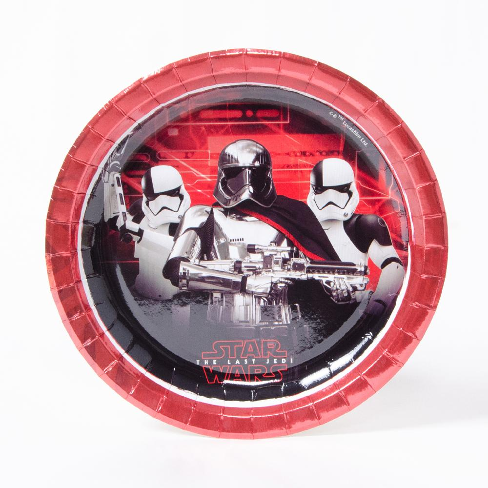 A round, star wars-themed party plate featuring stormtroopers